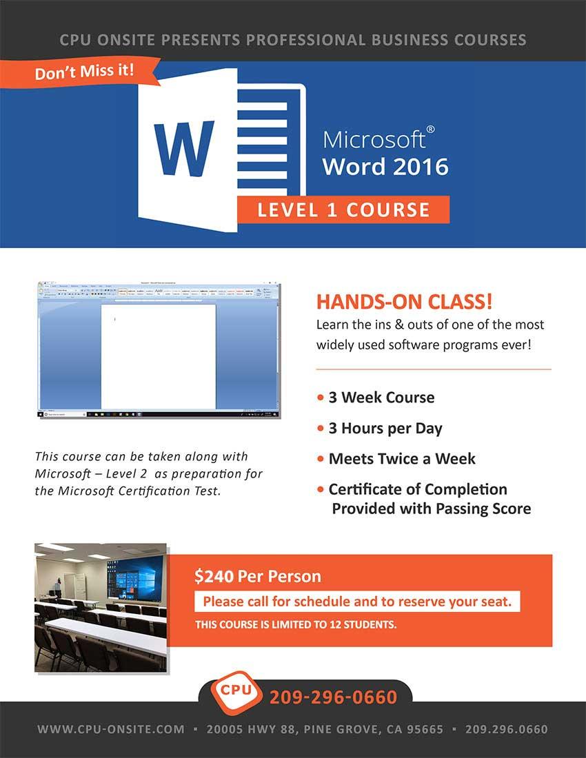Microsoft Word Level 1 Class