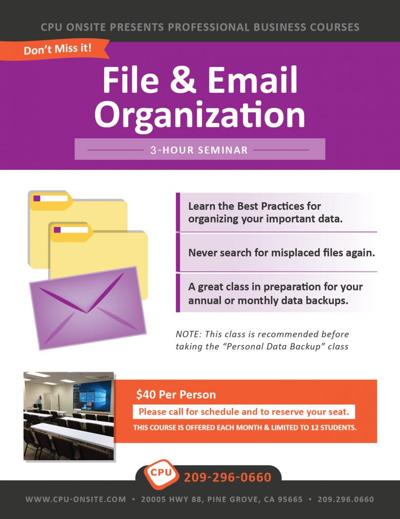 File and email organization class